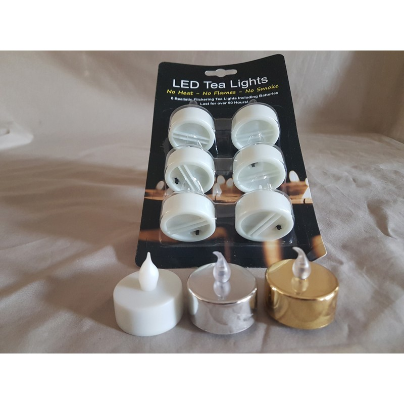 White Silver Gold Tea Lights Flickering LED